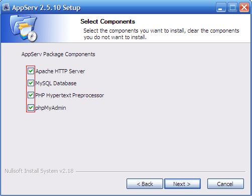 Instalacja AppServ, krok 1