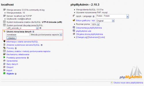 Tworzenie bazy danych w phpMyAdmin