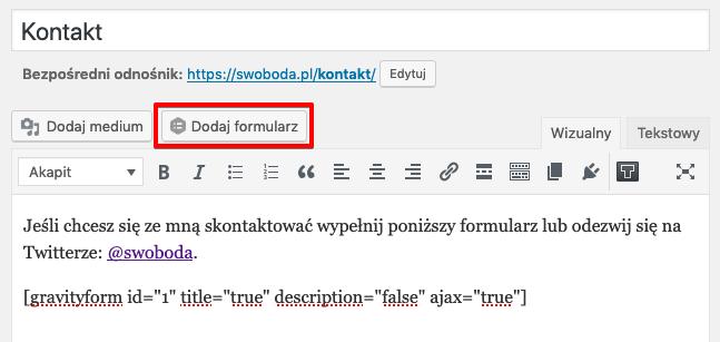 Gravity Forms dodaj formularz kontaktowy WordPress